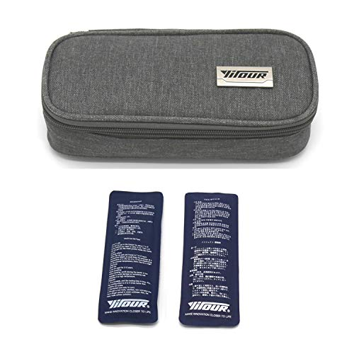 Insulin-Reisetasche, Insulin-Kühltasche Schutzhülle für die medizinische Versorgung Diabetiker Veranstalter Tragbarer Reisekühler + 2 Eisbeutel (Grau)