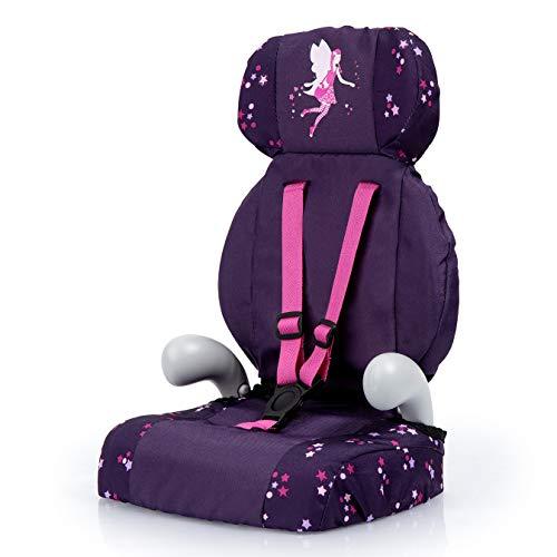 Bayer Design 67579AA Deluxe Puppen-Autositz, Puppensitz, Puppenzubehör, mit Gurt, lila, mit Fee und Muster