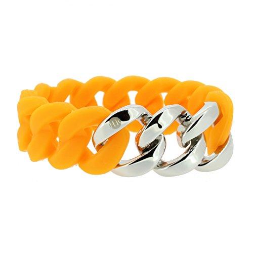 Hanse-Klunker Armband Damen ORIGINAL Silikon Orange, Edelstahl Silber Armreif Armkette Frauen Mädchen Größe 18-19 cm inkl. Schmuck-Geschenk-Box