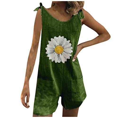Dosoop Women Daisy Print Pockets Bandage Playsuit Suspenders Pants Bib Overalls Shorts Sleeveless Casual Jumpsuit Rompers