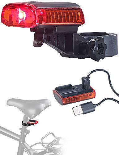 PEARL Velolicht: Cree-LED-Fahrrad-Rücklicht mit Akku, USB-Ladekabel, StVZO-zugel, IPX4 (Fahrradlampen)