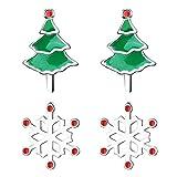 MYA art Pendientes de mujer con árbol de Navidad, copos de nieve, copos de nieve, pequeños pendientes de Navidad, plata, blanco, verde y rojo, juego de 2