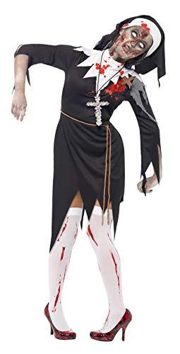 Halloween! Smiffys Zombiekostüm Blutige Klosterschwester, Schwarz, mit Kleid, Latexwunde, Seilgürtel und Kopfteil