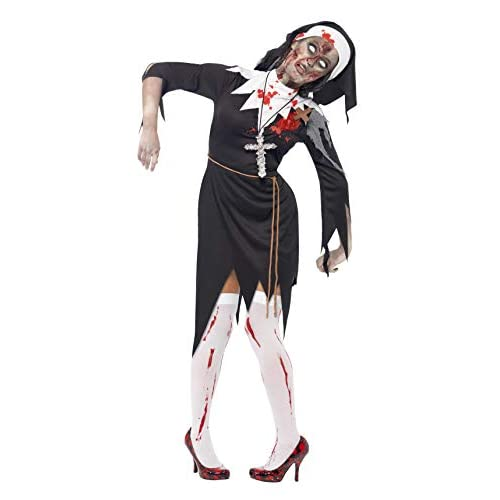 Smiffys Costume Zombie Suor Maria Insanguinata, Nero, comprende Abito, Ferita in Lattice