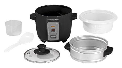 GOURMETmaxx 00608 Reiskocher mit Dampfgaraufsatz 400 ml, 200 W, schwarz/weiß