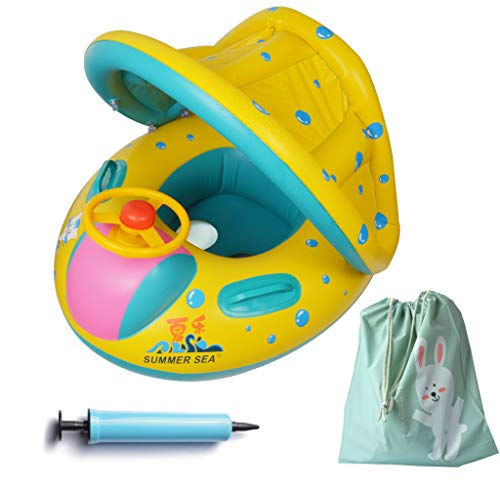 FindUWill Inflatable Baby Float-Pool Swimming Ring with Sun Canopy with Inflator Pump,Waterproof Carry Bag,Duck Toys