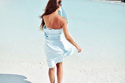 Captain&Mermaid® Premium Strandtuch aus 100% Baumwolle | Badetuch | Handtuch | Yoga | Peshtemal | Sauna Tuch | Hamam Tuch | leicht, dünn & extra saugstark (Mint)