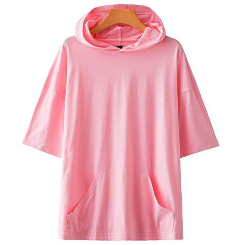 KENAIJING Camiseta, Camiseta con Capucha Deportiva Casual para Hombre y Mujer (Rosa, 3XL)