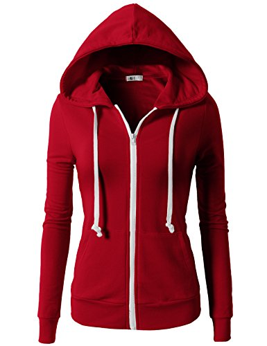 H2H Womens Active Regular Fit Zip Up Long Sleeve Hoodie Jacket With Side Pockets RED US 2XL/Asia 2XL (CWOHOL020)