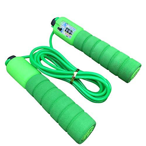 Cuerda para saltar, velocidad ponderada, cuerda para saltar, entrenamiento, equipo de entrenamiento, alambre de acero ajustable, gimnasio, equipo de boxeo para Fitness en el hogar-_Verde