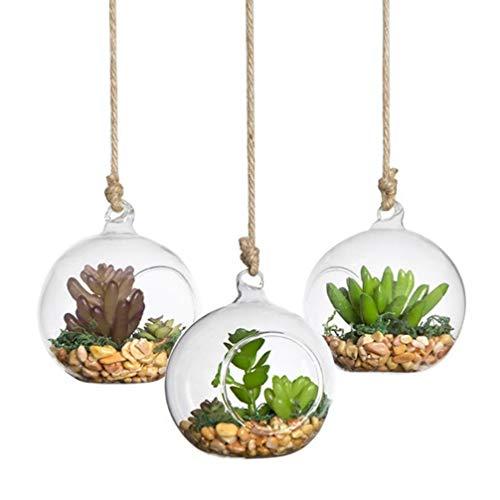 VOSAREA 4 Stücke Teelichtglas Transparent Weihnachtskugeln Baumschmuck Christbaumkugeln Sukkulenten Vase Glasvase Weihnachtsanhänger Glaskugeln Teelichthalter zum Aufhängen