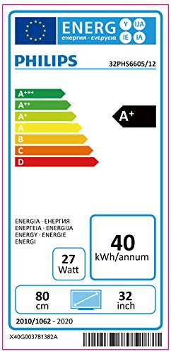 Televisor Philips 32PHS6605/12 de 32 Pulgadas (LED TV, Pixel Plus HD, Saphi Smart TV, Altavoces de Rango Completo, 3 x HDMI, 2 x USB, Ideal para Gaming), Color Negro Brillante (Modelo de 2020/2021) miniatura