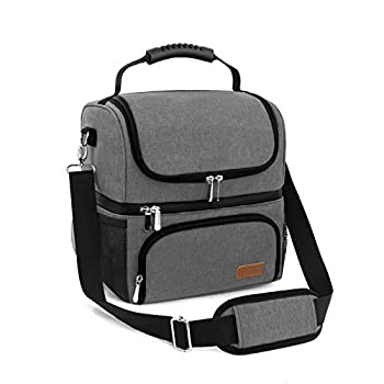 Lunch Bags for Women Men Work School 2 Compartments Large Reusable Cooler Bag Travel Portable Insulated Lunch Box Tote Bag  Grey  grey2