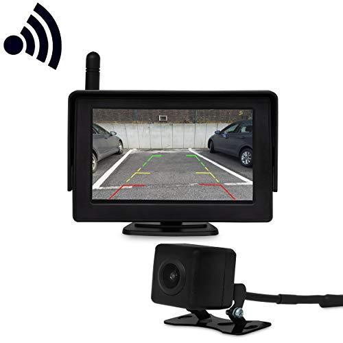 JOM Car Parts & Car Hifi GmbH 7122 Wireless Funk Rückfahrkamera kabellos mit Monitor Einparkhilfe 14.4cm/4.3 Zoll Farbdisplay wasserdichte Kamera für KFZ SUV Van Anhänger Bus