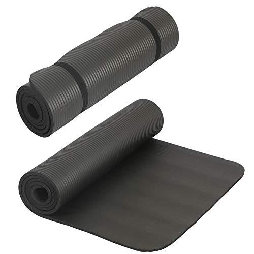 HAC24 2er Set Yogamatte Schwarz Gymnastikmatte 190cm x 60cm x 1cm Fitnessmatte Sportmatte Yoga Pilates Fitness Matte Bodenmatte