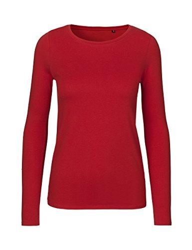 Green Cat- Damen Langarmshirt, 100% Bio-Baumwolle. Fairtrade, Oeko-Tex und Ecolabel Zertifiziert, Textilfarbe: rot, Gr. M