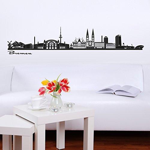 Wandkings Skyline - Deine Stadt wählbar - Bremen - 125 x 21 cm - Wandaufkleber Wandsticker Wandtattoo