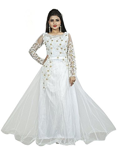 Divine International Trading Co Women's Net with Embroidery Work Semi-Stitched Gown (White, Free size)