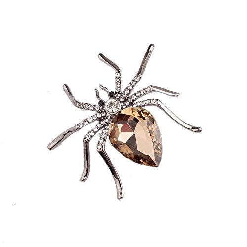 Glamour Girlz dames gouden toon 5 cm Diamante Spider Broche champagne