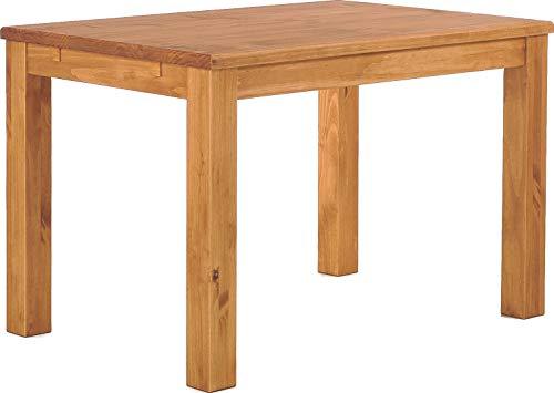 Brasilmöbel Esstisch Rio Classico 120x80 cm Honig Massivholz Pinie Holz Esszimmertisch Echtholz Größe und Farbe wählbar ausziehbar vorgerichtet für Ansteckplatten