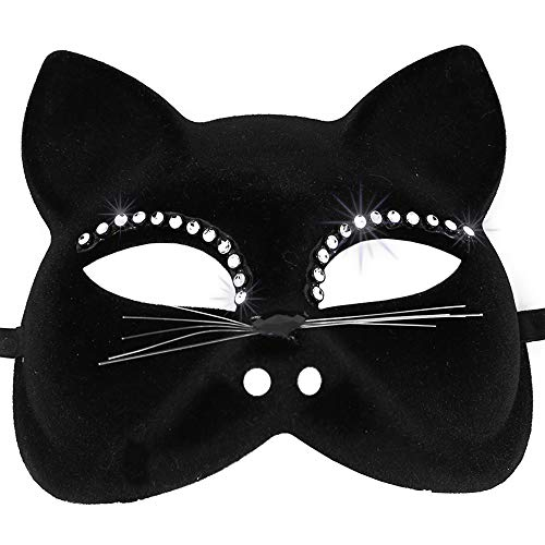 Skeleteen Venetian Black Cat Mask - Masquerade Costume Half Face Eye Mask For Kids And Adults