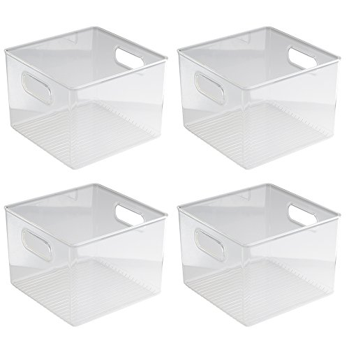 iDesign Plastic Fridge and Pantry Storage Bins, Organizer Container for Kitchen, Bathroom, Office, Craft Room, BPA-Free, 8 x 8 x 6, Set of 4, Clear