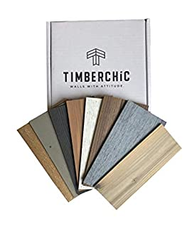 Timberchic DIY Reclaimed Wooden Wall Planks -Simple Peel and Stick Application  Sample Pack   All Shades
