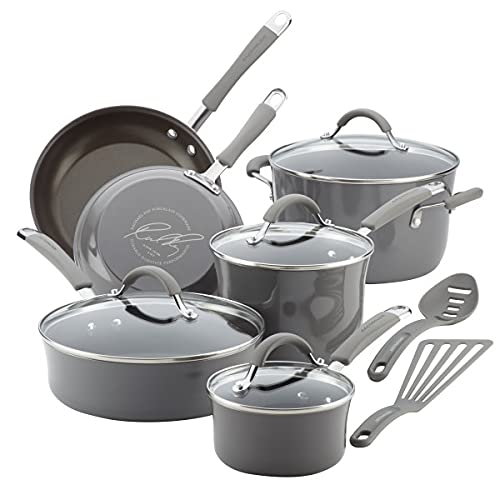 Rachael Ray Cucina Aluminum 12-Piece Nonstick Cookware Set (Hard Enamel Porcelain, Sea Salt Gray)