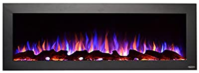 Touchstone 80017 - Indoor/Outdoor Sideline Electric Fireplace - GFI Plug for Outdoor Use - 50 Inch Wide - in Wall Recessed or Wall Mount - Realistic 3 Color Flame - No Heat - (Black) - Log & Crystal