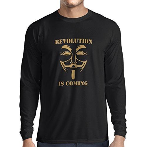 lepni.me Camiseta de Manga Larga para Hombre La Revolución se Acerca Hackers Anónimos Legión V para Vendetta (X-Large Negro Oro)