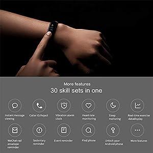 Xiaomi Mi Band 3 Pulsera de Actividad Inteligente Rastreador Deportes Deportiva con Pulsómetro Monitor de Ritmo Cardíaco 0,78 Pulgadas OLED Pantalla Táctil Pronóstico del Tiempo Negro