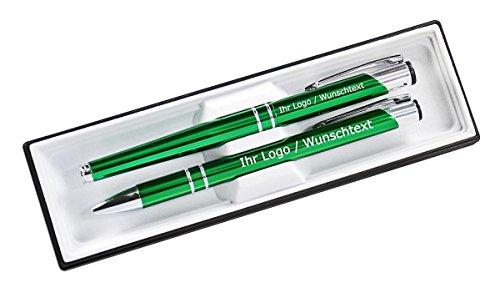 Edles Schreibset aus Metall mit Füller und Kugleschreiber mit Wunschgravur in Etui. 9 Farben wählbar, Farbe:C-13 (dunkel grün)