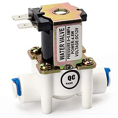 """PAGOW DC 12V 1/4"""" Inlet Feed Water Solenoid Valve, Water Control Diverter Device, Quick Connect N/C Normally Closed for RO Reverse Osmosis Pure System from PAGOW"""