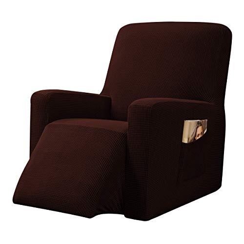 CHUN YI Strech Recliner Überzug Sessel Husse, Bezug für Relax Fernsehsessel Relaxstuhl, 1 stück Jacquard Stuhl Schonbezug mit Gummiband, Liege Sessel (Schokolade)