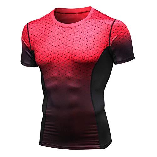 YOJOLO Kompressions-T-Shirt Herren Kurzarm Rundhalsausschnitt Sport Trainings T-Shirts Cool Dry Moisture Wicking Sportbekleidung Läuft Tight Tops,Rot,L