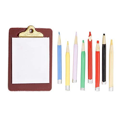 Odoria 1:12 Miniature Clipboard and 8Pcs Colored Pencils Dollhouse Decoration Accessories