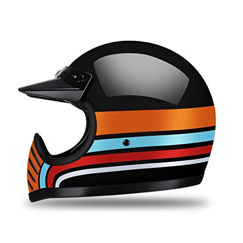 High Gloss Black Motorcycle Face Face Casco con Viseras, Azul Naranja Red Cruiser Motorcyclistswith Straps Tallas de retención Dual Anillos D, Cáscara de Fibra de Vidrio y Dura DIENSIÓN EPS Liner