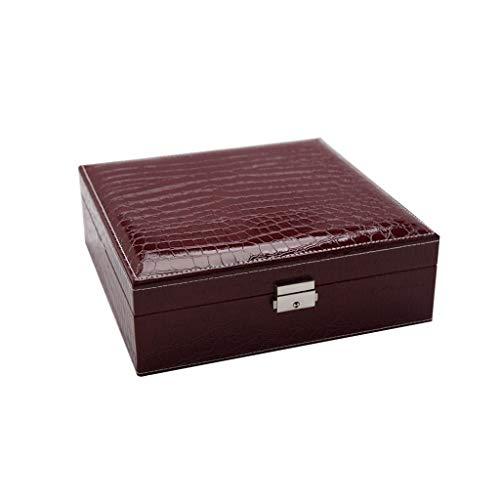 Morran Zwei-Schicht-Baumwoll Schmuckkästen Schmuckzubehö Kosmetikspiegel Aufbewahrungsbox Display Aufbewahrungsbox bschließbarer Schmuck-Organizer mit Spiegel