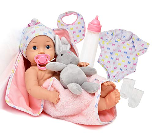 Realistic Newborn Baby Doll with Magic Disappearing Milk Bottle, Pacifier, Bib, Teddy Bear and Soft Blanket Accessories, 16 Inch Lifelike New Born Deluxe Set