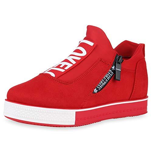 SCARPE VITA Damen Plateau Sneaker Logo Print Turnschuhe Zipper Freizeitschuhe 180382 Rot 36