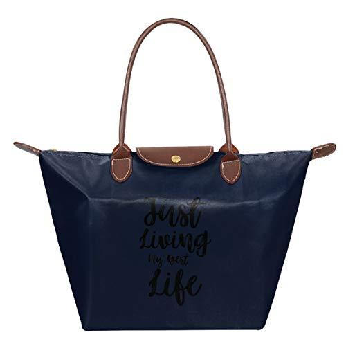 Just Living My Best Life Waterproof Leather Folded Messenger Nylon Bag Travel Tote Hopping Folding School Handbags