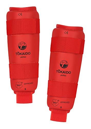 Tokaido Unisex– Erwachsene Kumite Shin Guard Karate Schienbeinschützer, rot, M