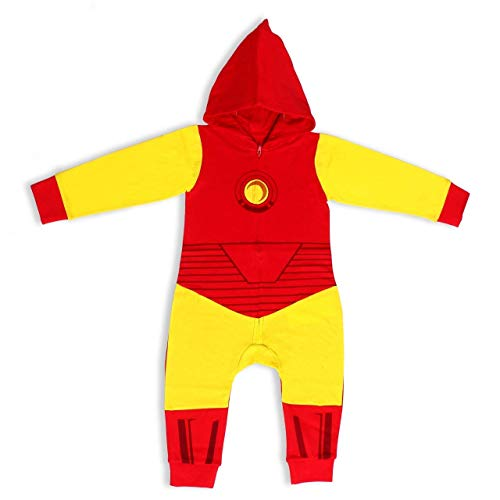Marvel Boy's Iron Man Zip Up Hooded Coverall, 100% Cotton, Red, Size 18M