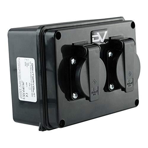 Wanddose 2x230V IP54 Schuko Stromverteiler Wandverteiler Steckdosenverteiler Baustromverteiler M-L 9573
