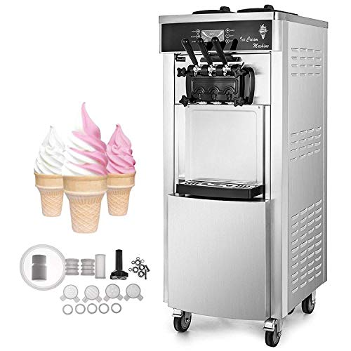Great Deal! VEVOR 2200W Commercial Soft Ice Cream Machine 3 Flavors 5.3-7.4Gallons/H Auto Clean LED ...
