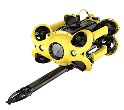 AHELT-J Portable Underwater Drone, 4K Camera Dive Shooting Search and Rescue Underwater Robot, 64G Memory with Remote Control 100 / 200m Cable, Suitable for Underwater Work,100m+Mechanical arm