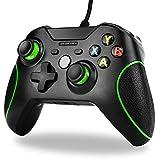 Wired Xbox One Controller,TechKen Kabelgebundener Controller Gamepad mit Dual-Vibration und 3,5mm Headset-Buchse für Xbox One,Xbox One S, Xbox One X, Windows PC (schwarz)