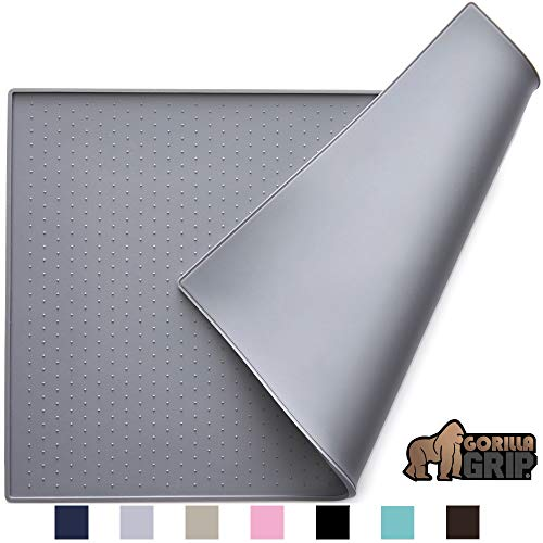 Gorilla Grip Silicone Pet Feeding Mat, Easy Clean, Large, 23x15, Dishwasher Safe, Waterproof, Raised Edges, Pets Placemat Tray Mats to Stop Dog and Cat Food Spills and Water Bowl Messes, Gray
