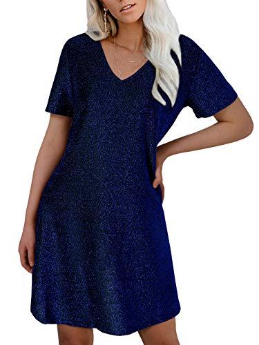 YOINS Vestido sexy de verano para mujer, de manga corta, con escote en V, vestido de verano, vestido de cóctel, vestido de fiesta, azul oscuro, XXL