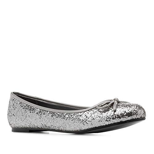 Andrés Machado - Bailarinas de Mujer con Mini tacón y Lazo Decorativo - TG104 - Loafer para Mujer - Zapatos Muy cómodos – Bailarina de Invierno y Verano - Plata, EU 46